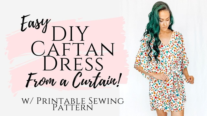 How to Make A Summer Dress From A Recycled Curtain w This Printable Caftan Pattern