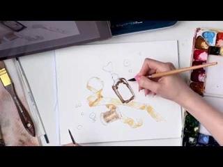 Винтажный скетч акварелью и акварельными карандашами. Учимся рисовать с Аксиньей la Paloma