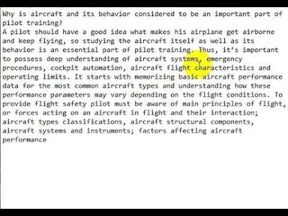 Отвечаем на вопрос Why is aircraft and its behavior considered an important part of pilot training?