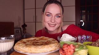 MUKBANG | Блины с фаршем, лососем, сгущенкой и джемом | Pancakes with different fillings не ASMR