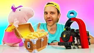 Видео игрушки Свинка Пеппа и Джордж: игры в Службу Спасения! ХэлпМэн чинит паровозик и кассу!