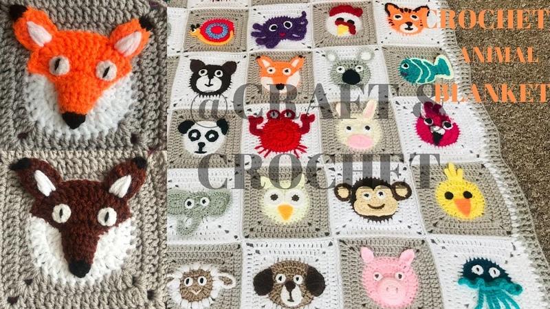 Crochet Fox Crochet animal blanket crochet baby blanket Part 12