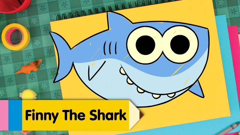 How To Draw Finny The Shark | Draw and Color Super Simples Baby Shark