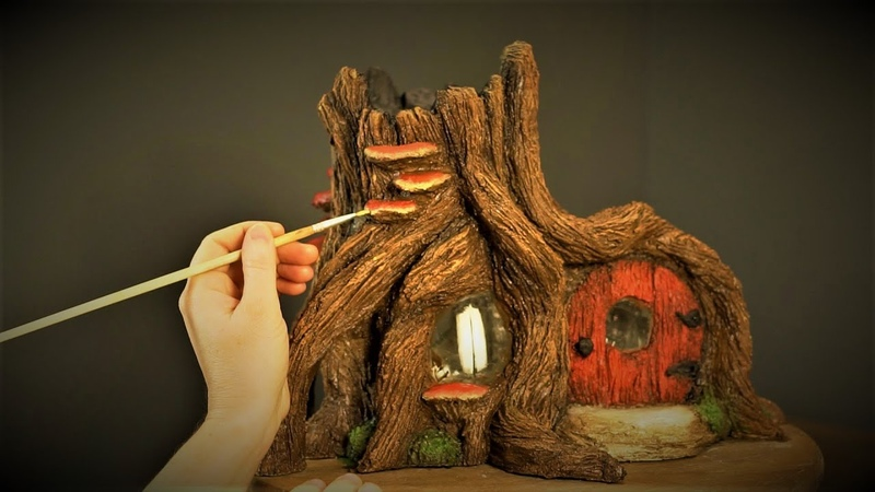 ❣DIY Outdoor Stump House Using Jars and Cement❣