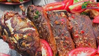 Сазан жареный по-Узбекски, картошка по-деревенски с зеленью, готовим рыбу в казане на костре!