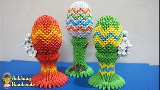 3d origami Easter eggs tutorial | DIY  paper Easter eggs , Easter decoration