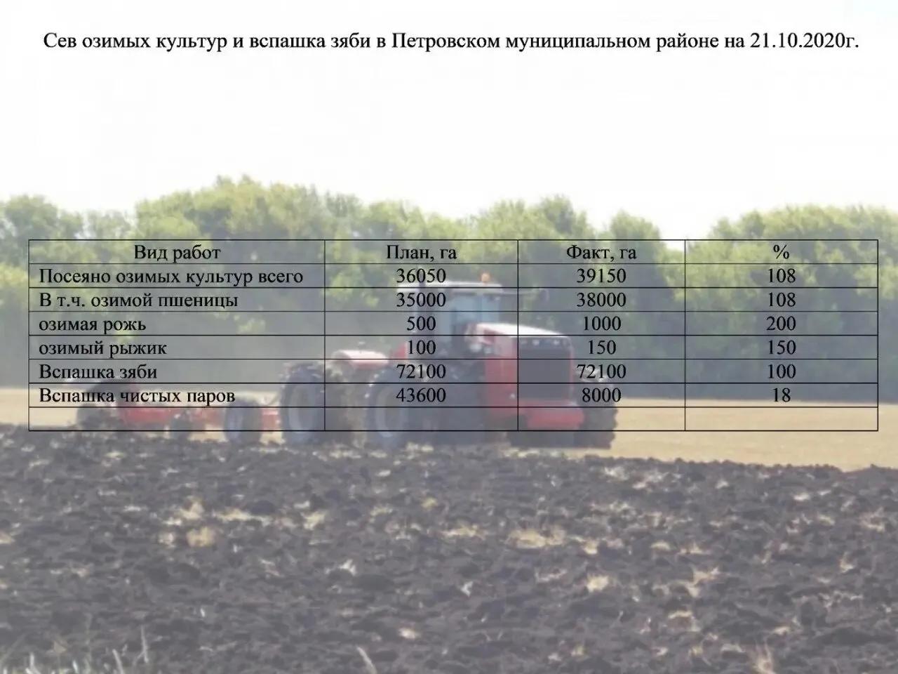 Аграрии Петровского района продолжают осенне-полевые работы