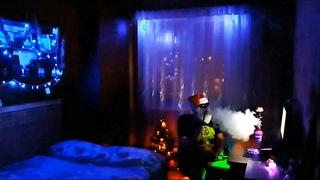 Big Russian Santa Claus smoking a hookah at home