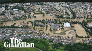 Flooding across Belgium, Germany and the Netherlands shown in aerial footage