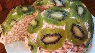 Нежный торт из крекера со сметаной без выпечки