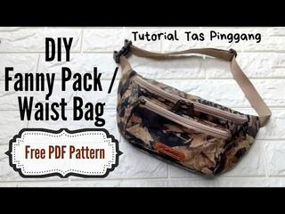 9_Cara Membuat Tas Pinggang dengan kantong 3D, DIY Fanny Pack / Waist Bag Tutorial with 3D Pocket