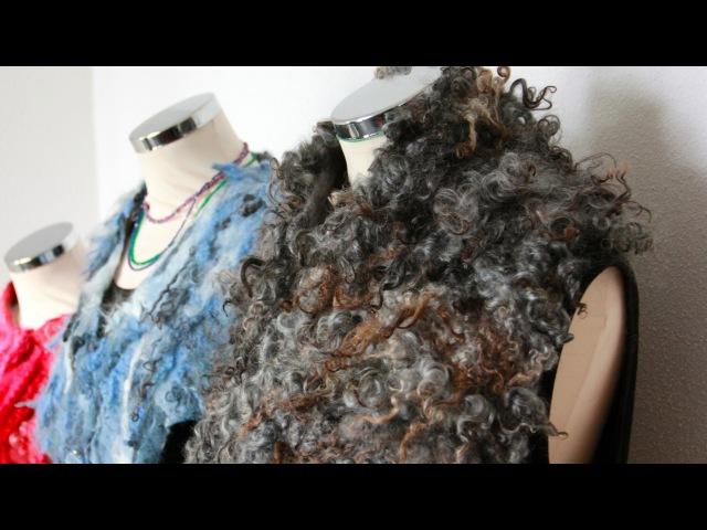Felting a curly shawl