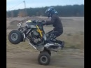 Bombardier ds650 riding and stunting at quarry
