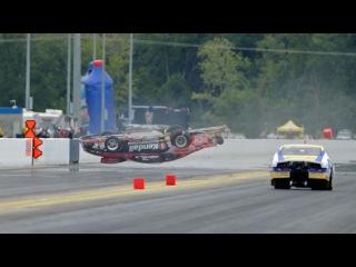 NHRA Pro Stock driver V Gaines wild crash in Charlotte