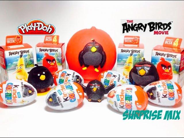 МНОГО сюрпризов Энгри Бёрдс в Кино Angry Birds Movie Плэй До яйцо БОМБ СВИТ БОКС Киндер Сюрприз