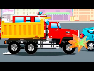 The Truck w Big Trucks and Car Accident on the Road in the City | Cars & Truck cartoon for children