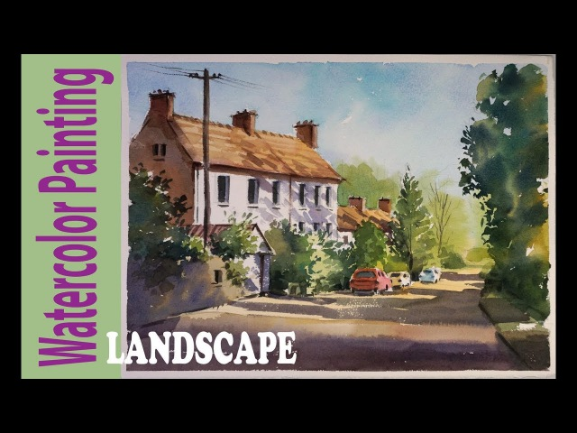 Watercolor Painting Feniton old village in the morning light