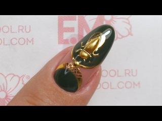 Дизайн ногтей сама себе. Зеленый маникюр гель-лаком и 3D-жук