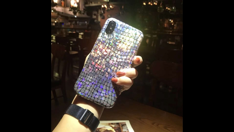 Aligator Skin Shiny Phone Case Laser Bling Soft PU Leather Telefon Kilifi