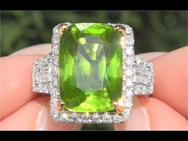 GIA Certified VVS2 Natural Peridot Diamond 14k White Yellow Gold Estate Ring TOP GEM C120