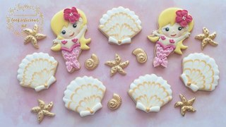 How to make PRETTY MERMAID & MARBLED SEASHELL COOKIES - Wet on wet marbled icing technique (HOW TO)