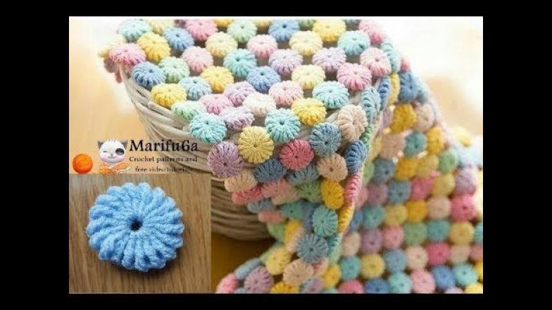 How to crochet Macaron circle afghan blanket free easy pattern tutorial for beginner