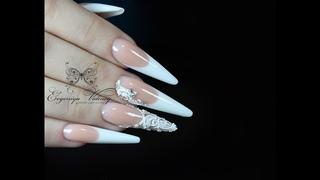 Наращивание стилет/Роскошный свадебный маникюр/Свадебные ногти