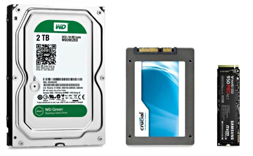 Слева на право HDD 3.5', SSD 2.5' и SSD M.2