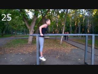 Девушка. Отжимания на брусьях 36 раз (новый рекорд) street workout girl