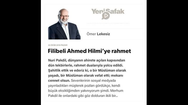 025 Ömer Lekesiz Filibeli Ahmed Hilmi'ye rahmet