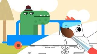Раскраска ПИК - Важный крокодил - Волшебный Грузовичок Пик Мультик