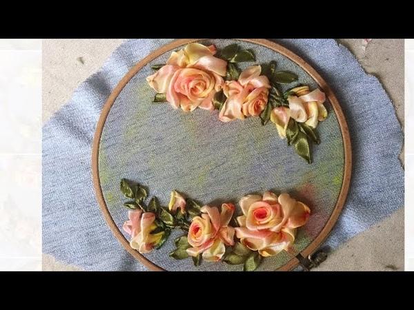 D.I.Y Ribbon Embroidery Rosas with acrylic Color / Hướng dẫn thêu ruy băng hoa hồng tô loang màu
