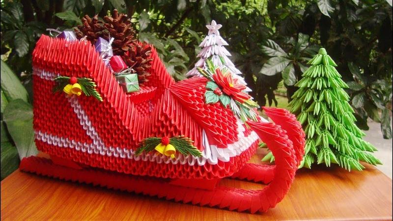 3D Origami Santa Claus Sleigh V2 DIY Paper Sleigh Christmas Ornament