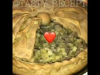 Зур-бэлеш-большой пирог с картофелем и мясом традиционное праздничное татарское блюдо❤