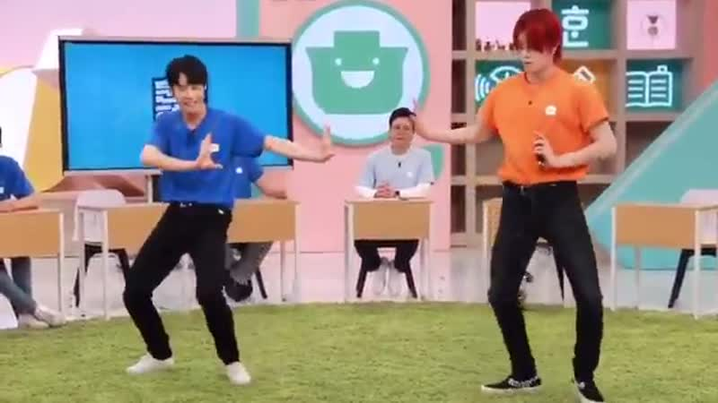 Doyoung and yuta dancing to cherry bomb, regular, and superhuman on 훈맨정음