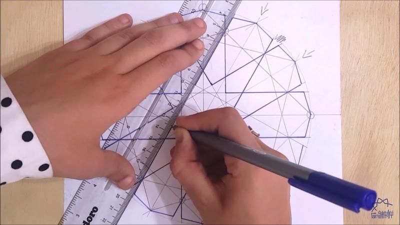How to draw an Islamic geometric pattern 3 زخارف اسلامية هندسية