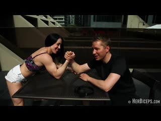 Hot muscle girls lift men and armwrestling -