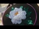DIY Hướng dẫn thêu ruy băng hoa mẫu đơn trắng White poeny