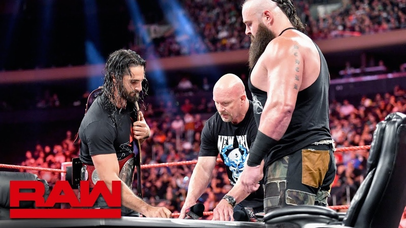 The «Kingslayer» Stone Cold Steve Austin moderates Universal Title Match contract signing Raw, Sept. 9, 2019