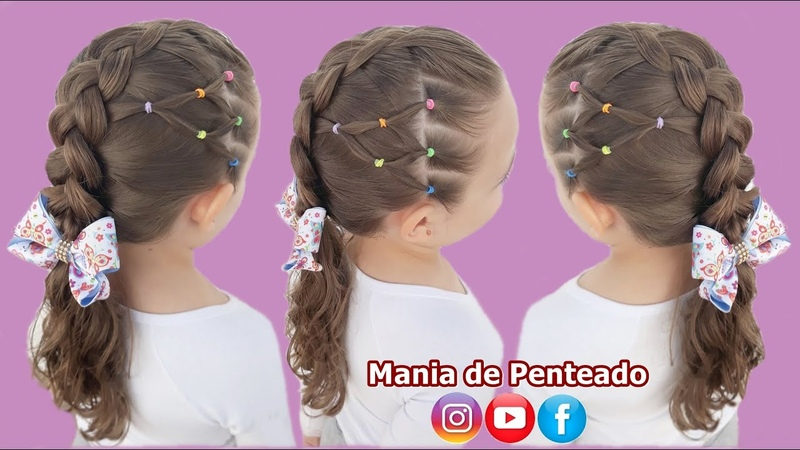 Penteado Infantil com Ligas e Trança Embutida Inversa Braid Hairstyle with Rubber Band for Girls