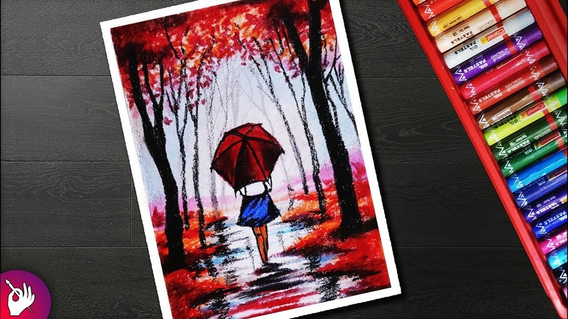 Rainy season scenery drawing for beginners with oil pastel Girl in rain