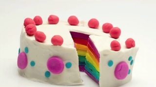 DIY Play Doh How to Make Birthday Cake. Food for dolls. Play doh dessert.