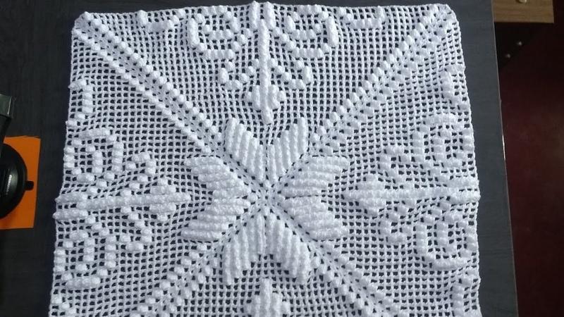 Square imperial de crochê, parte 3, com ponto alto e ponto pipoca