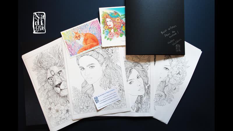 Арт фолдер с набором чудесных рисунков для раскрашивания художника Nadiya Vasilkova
