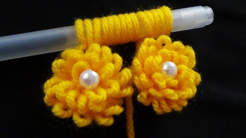 Hand Embroidery Amazing Woolen Flower Idea With Pen Loop Flower Buttons