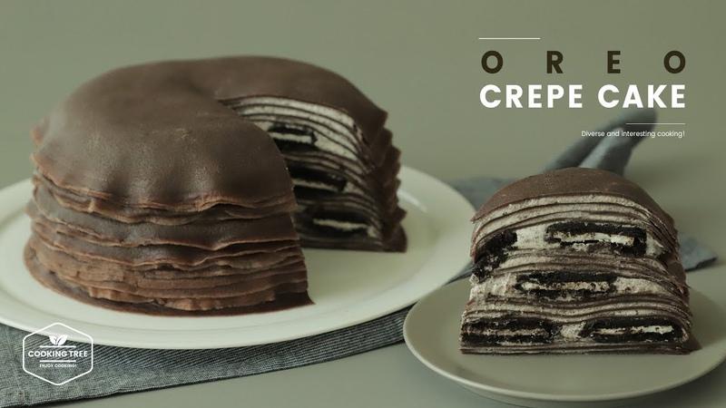 오레오 크레이프 케이크 만들기 : Oreo Crepe Cake Recipe : オレオクレープケーキ Cooking tree