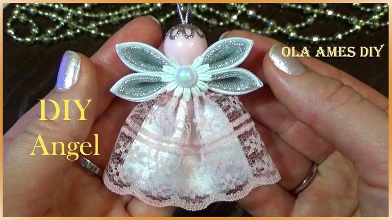 Ангел из лент/Christmas Kanzashi Angel Tutorial/DIY Satin Ribbon Angel/Anjo da fita/Ola ameS DIY
