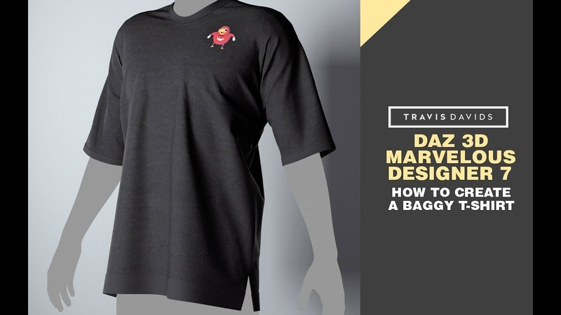 Daz 3D, Marvelous Designer 7 - How To Create A Baggy T-Shirt