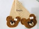 Teje bufanda con bolsas/aplicación oso, amigurumis by Petus