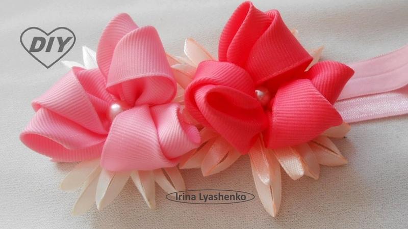 Цветок канзаши из репсовой ленты МК/DIY Ribbon Flower /РАР Flor de la cinta239